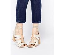 TALK SHOW Sandalen in Schlangenhautoptik zum Schnüren Weiß