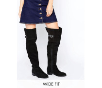 KNIGHTHOOD Overknee-Stiefel aus Wildleder in weiter Passform Schwarz