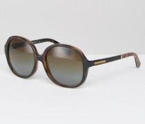 Runde Oversize-Sonnenbrille Braun