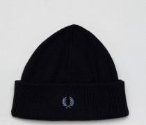 Schwarze Mütze aus Merinowolle mit Logo Schwarz
