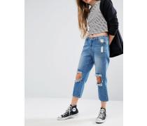 Jeans im Used-Look mit besticktem Knie Blau