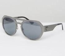 Runde Sonnenbrille mit braunem Steg und seitlicher Medusakopfverzierung Silber