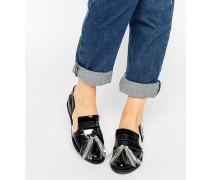 Schwarze flache Schuhe mit Zierausschnitten und Quaste Schwarz