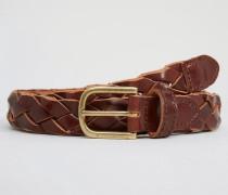 Gewebter Ledergürtel in Braun Braun