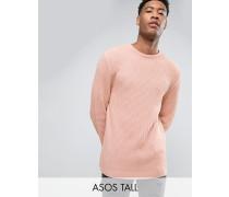TALL Strukturierter Oversize-Pullover mit weit geschnittenen Ärmeln Rosa