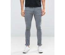 Superenge, graue Jeans mit Zierrissen im Used-Look Grau