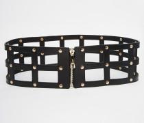 Gürtel mit Reißverschluss im Gitterdesign Schwarz