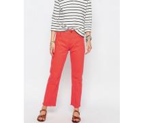 FLORENCE Jeans mit geradem Bein und unverarbeitetem Saum in Tangerine Orange