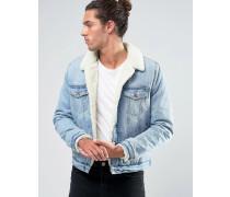 Jeansjacke in mittlerer Waschung mit Fellfutter Blau