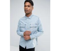 Jeanshemd mit Taschen in mittlerer Waschung Blau