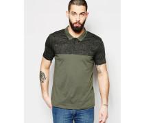Polohemd aus Jersey mit Marmor-Print in Khaki Grün