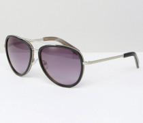 Hochwertige Pilotensonnenbrille aus Metall mit schwarzer Verzierung aus Acetat Schwarz