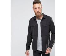 Schwarze Hemdjacke in regulärer Passform Schwarz