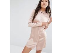 Hemdkleid aus Satin Rosa