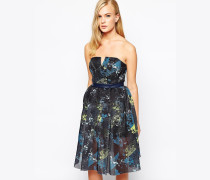 In Motion Trägerloses Kleid mit bedrucktem NEtz Mehrfarbig