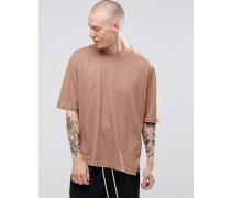 Übergroßes kastenförmiges T-Shirt Steingrau