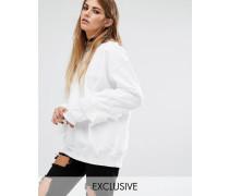Sweatshirt mit Rüschen am Arm Weiß
