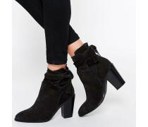 ELISHIA Wildleder-Ankle Boots im Slouch-Stil Schwarz