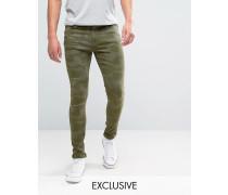 Brooklyn Supply Co Superenge Skinny-Jeans mit grünem Tarnmuster Grün