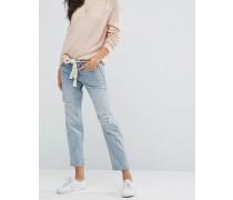 Boyfriend-Jeans im Used-Look Blau