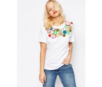 Verziertes T-Shirt Weiß