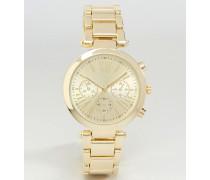 Boyfriend-Armbanduhr mit großem Zifferblatt Gold