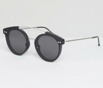 Runde Sonnenbrille mit Metall-Brauensteg in Schwarz Schwarz