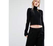 Hochgeschlossener, gekürzter Pullover mit Rippen Schwarz