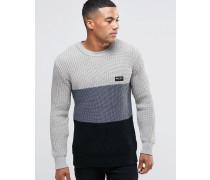 Pullover mit Blockfarben Steingrau