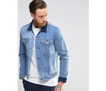 Levi's May Celebration Schmale Trucker-Jeansjacke in Kontrastfarben Blau