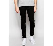 Solid Enge Stretch-Jeans in Schwarz Schwarz