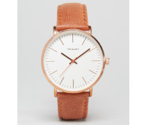 Uhr mit goldfarbenem Armband aus Leder Braun