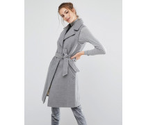 Ärmelloser, eleganter Mantel mit Gürtel Grau