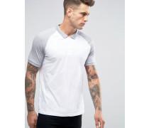Polohemd mit kontrastierenden Raglanärmeln in Weiß und Kalkgrau Mehrfarbig