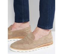 Penny-Loafer aus grauem Wildleder mit weißer Sohle Grau