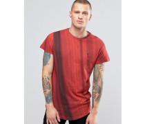 T-Shirt mit abgerundetem Saum und Farbverlauf Rot