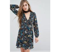 Kleid mit Folklore-Blumenmuster Mehrfarbig