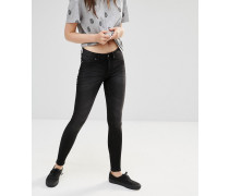 Mittelhohe Jeans im Spray-on--Look Grau
