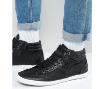 Hohe Schuhe aus Webstoff in Schwarz Schwarz