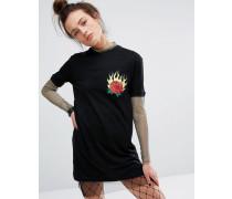 T-Shirt-Kleid mit Netz Schwarz