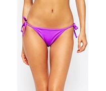 Bikinihose mit seitlicher Schnürung und Rüschen hinten Violett