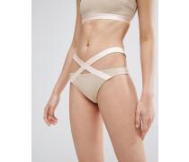 Hüfthose Bikinihose mit elastischen Einsätzen und Riemen Beige