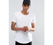 Lang geschnittenes T-Shirt mit ungesäumter Kante Weiß