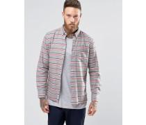 Hants Geknöpftes Hemd aus gebürsteter Baumwolle mit horizontalen Streifen, reguläre Passform Grau