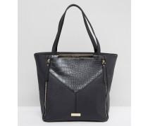 Schwarze Shopper-Tasche mit Einsatz und Reißverschlüssen vorn Schwarz