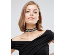 Halsband mit Stoffblume Mehrfarbig