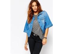 Kimono-Jeansjacke Blau