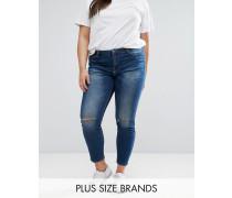 Enge Jeans mit Zierrissen am Knie Blau