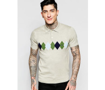 Polo-Pullover mit Argyle-Muster Grau