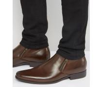 Chelsea-Stiefel aus braunem Kunstleder mit Reißverschlussdetail Braun